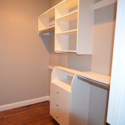 Simple single wall for Closet Curves, in a girls room this time; single hang, double hang, shelves, and drawers.