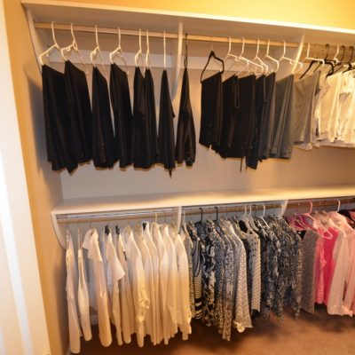 "Double hang...And someone listened to me!  Put your pants (over a hanger) on the upper bar and blouses below.  Much easier to see which black pants you want!  And it opens up the ""mid-shelf."""