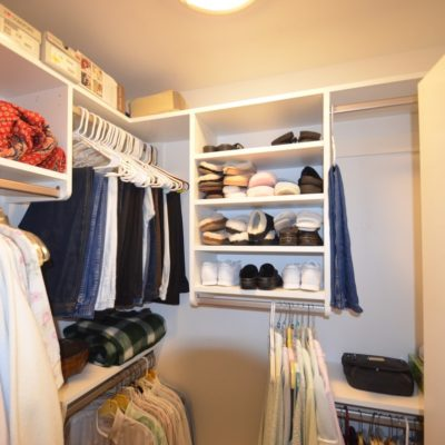 This small walk-in was SO underutilized with the (as usual) one wire shelf originally installed.  Closet Curves options tripled the utility for our client.