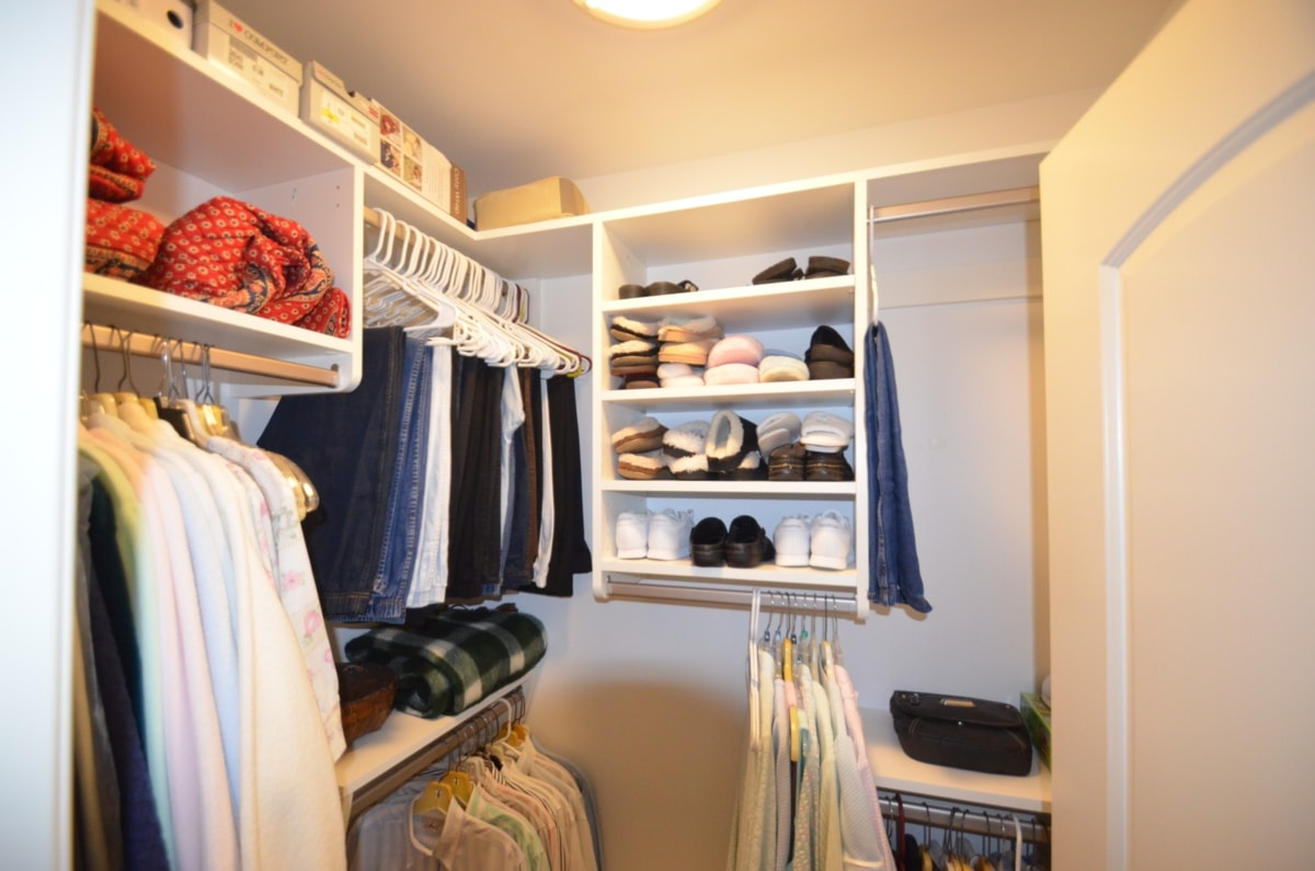 This Small Walk In Was SO Underutilized With The (as Usual) One Wire Shelf  Originally Installed. Closet Curves Options Tripled The Utility For Our  Client.