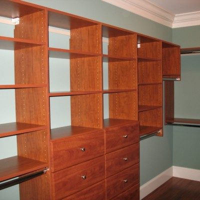 Deluxe wall system illustrates our most popular layout options, single and double hanging, shelves and drawers.