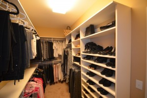 Closet remodel after the wire shelf fell.